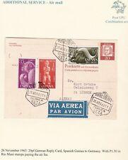 # 1963 GERMANY POSTAL STATIONERY CARD 3 SPAIN STAMPS GUINEA BATA PMKs TO LUBECK