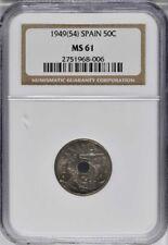 1949 (54) Spain 50 Centimos, NGC MS 61