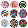 Round Figure Badge Patches Lots Embroidered Appliques Iron On For Clothes