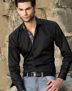 BERTIGO Franck 18 Black Purple Paisley Lined Button Casual Dress Shirt