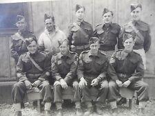 Vintage B&W Photo Men Canadian Military Group Wedge Style Cap Hat Barracks