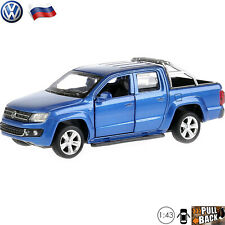 Diecast Car Scale 1:43 Volkswagen Amarok Blue Pickup Truck Russian Model Toy Car