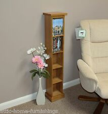 DVD/ CD Storage Rack Tower Unit Solid Oak Holds  45 DVD'S or 65 CD'S