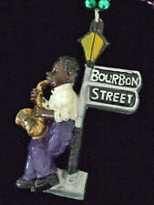 Sax Player Bourbon Street Light Mardi Gras Beads Party