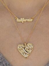 Gold CA Heart Necklace Set