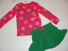 Gymboree Cheery All The Way Girls Size 3 Snowflake Top Green Skirt NEW NWT