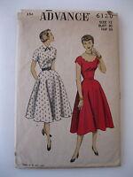 VTG 1950s Advance Dress Pattern #6120  Size 12/Bust 30