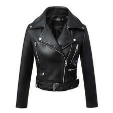 Womens Ladies Soft Leather Racing Style Biker Jacket  Motorcycle Slim Coat