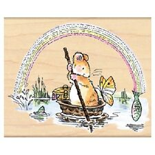 PENNY BLACK RUBBER STAMPS FISH ARE JUMPIN MOUSE NEW wood STAMP