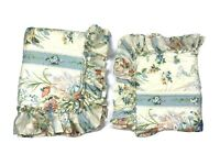 Beau Ideal Vintage & Rare Luxury Pair Pillow Shams Pillowcases Blue Floral HTF