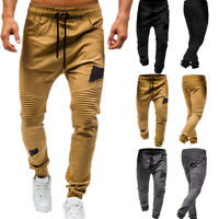 Fashion Men's Drawstring Classic Joggers Pants Zipper Pockets Sport Sweat Pants
