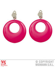 Neon Pink Circle Earrings 80S 90S Party Rave Fancy Dress Jewellery Accessory