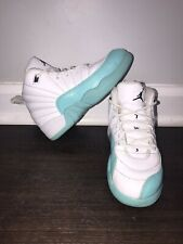 Nike Air Jordan 12 Retro Toddler Girls Light Aqua/white Shoes~size 11c EUC