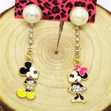 Hot Color Enamel Cute Mickey Minnie Crystal Betsey Johnson Women Stand Earrings