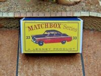 MATCHBOX 'REGULAR WHEELS' NO.33A, FORD ZODIAC CUSTOMISED DISPLAY/STORAGE BOX