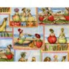 """Fruit Ladies ~ 1/2 yard ~Mary Stewart ~  ELS1510 -blu  100% Cotton ~  43"""" Wide"""