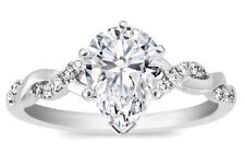Pear Shape Diamond Petite Twisted Pave Band Engagement Ring - GIA Flawless