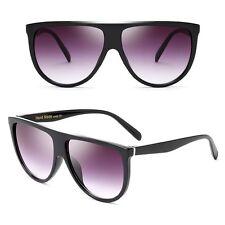 Large Vintage Retro Designer Flat Top Aviator Round Oversized Women Sunglasses