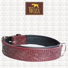WOZA Premium Dog Collar Embossed Full Leather Padded Soft Cow Napa Handmade HR64