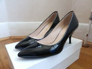 Russell & Bromley patent black leather pointed court shoes 37 4 VGC