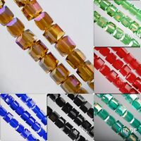 Loose 25pcs Lampwork Cube Glass Crystal Spacer Beads Craft Jewelry Finding 8x8mm