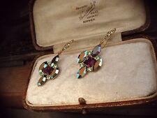 Vintage Jewellery Amethyst AB & Peridot Green Crystal Rhinestone Hook Earrings