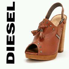 $220 DIESEL Brown Leather Stud Slingback Cuir Desir D'Aly Sandals Heels~9M M3020