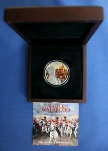 """2015 Guernsey Silver Proof £5 coin """"Battle of Waterloo"""" in Case with COA"""