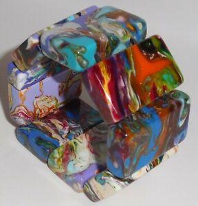 Sobral Pollock 8.5 Pecas Multi Hued Marbled Bracelet Brazil Import