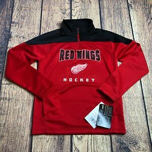 NHL Youth Small 8 Detroit Red Wings Hockey 1/4 Quarter Zip Pullover Track Jacket