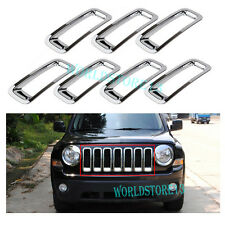 ABS Chrome Car Front Grill Grille Insert Trim Covers For 2011-2017 Jeep Patriot