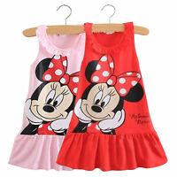 Kids Baby Girls Minnie Mouse Cartoon Sleeveless Clothes Party Short Mini Dress