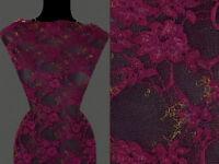 7,20 €//m 50cm STOFF Jeansstoff elastisch großes Blumenmuster amarantfarben