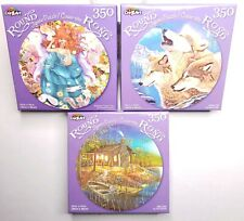 Lot of 3 350 Pc Round Puzzles Wolves Fairy Lady And Cabin Scene