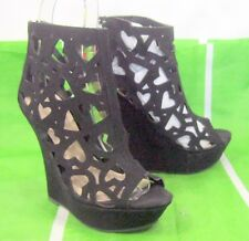 "Black 5""High Wedge Heel 1.5""Platform  open toe heart Sexy Shoes Size 8"