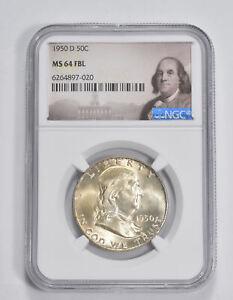 MS64 FBL 1950-D Franklin Half Dollar - 90% SILVER - NGC Graded *228