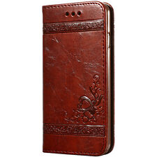 Shockproof Flower Leather Case Card Holder Magnetic Cover For iPhone Samsung