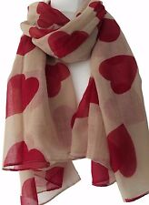 Red Heart Beige Scarf Ladies Sarong Large Love Hearts Wrap Womens Shawl Sarong