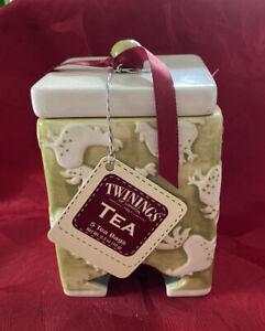 New Twinings of London Rooster Ceramic Tea Bag Holder Dispenser w/ Lid