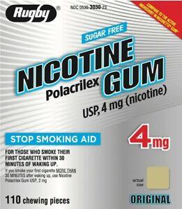 RUGBY Original Sugar Free 4mg Nicotine Gum Stop Smoking 110 Pieces FAST 1/24