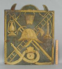 Antique 19thC Fireman Folk Art Painting Sign, Helmet Lantern Bucket Axe Horn +++