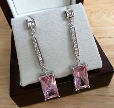 BRIGHT SHOCKING PINK CUBIC ZIRCONIA 925 SILVER ITALIAN LONG DROP DANGLE EARRINGS