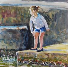 DORANNE ALDEN ORIGINAL Stone Skimmer in Evening Light GIRL WATERCOLOUR PAINTING