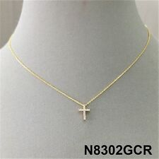 Religious Cross Charm Design Gold Finish Cubic Zirconia Stones Dainty Necklace