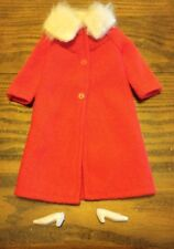 Vintage  BARBIE Red Coat with Faux Fur Collar white heels