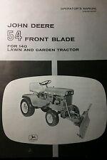 John Deere 314 316 140 Lawn Garden Tractor 54 Front Blade Operators Manual 12pg