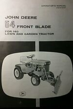 John Deere 314 316 H3 140 Lawn Garden Tractor 54 Front Plow Blade Owners Manual