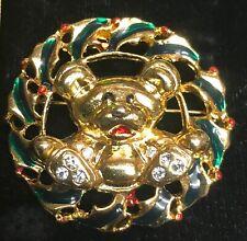 Vintage Christmas Wreath Holly Teddy Bear gold tone pin Brooch