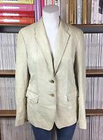 NICOLE FARHI blazer jacket coat real leather cream tailored FLAW UK 10 US 6