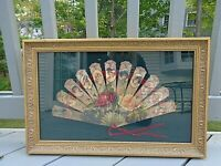 Antique Die Cut Expanding Paper Fan 1900's Ladies William Wordsworth poem Framed